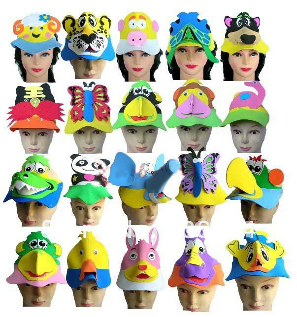 Free shipping 30pcs lot EVA animal hat Cartoon hat many cartoons suitable for performance party birthday