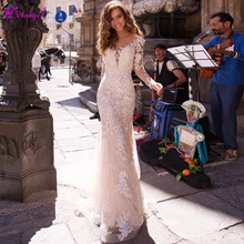 Detmgel Romantic Long Sleeve Mermaid Wedding Dress