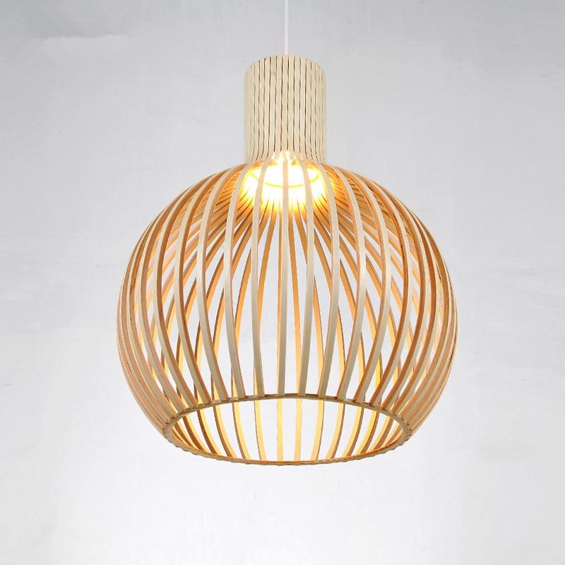 Preto moderno lâmpada Pingente de luz Gaiola De Madeira E27 norbic deco home de bambu tecelagem Pingente de madeira lâmpada - 3