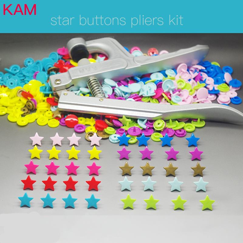 { 200 sets 10 Colors mixed Kit + KAM Snap Plier } KAM Star Shaped Plastic Snap Button & Tool Fastener Buttons For Baby Diaper m