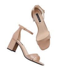 summer women pumps PU Word Band Patent leather buckle Square head High heel Thick with sandals