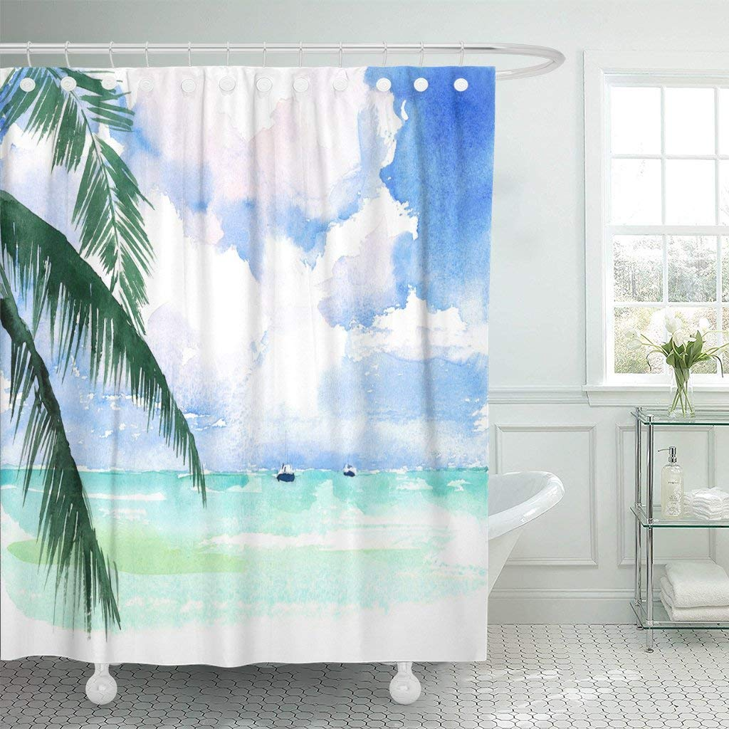 Waterproof Shower Curtains Blue Tropical Watercolor Caribbean Exotic Coast Seascape Scenic Ocean Beach Hand Sea Extra Long