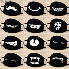 Fashion Anti-Dust Cotton Mouth Face Mask Black Cartoon Expression Pattern Boutique Mask Unisex Health Cycling Respirator