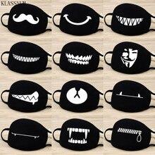 Máscara facial de algodón antipolvo a la moda, máscara de Boutique con patrón de expresión de dibujos animados negros, respirador de ciclismo saludable Unisex