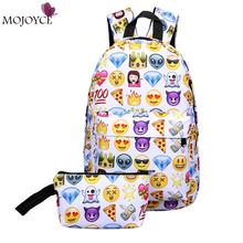 2017 Leisure Waterproof Nylon Travel Backpack 3D Smiley Emoji Face Printing School Bag for Teenage Girls Mochila