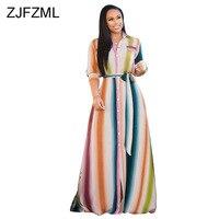 Rainbow Vertical Striped Long Maxi Dress Women Turn Down Collar Three Quarter Sleeve Boho Dress Summer Button Sashes Beach Dress