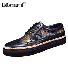 2018 new bullock men's shoes carved leisure shoes male England thick fashion men real leather shoes spring and autumn summer стоимость