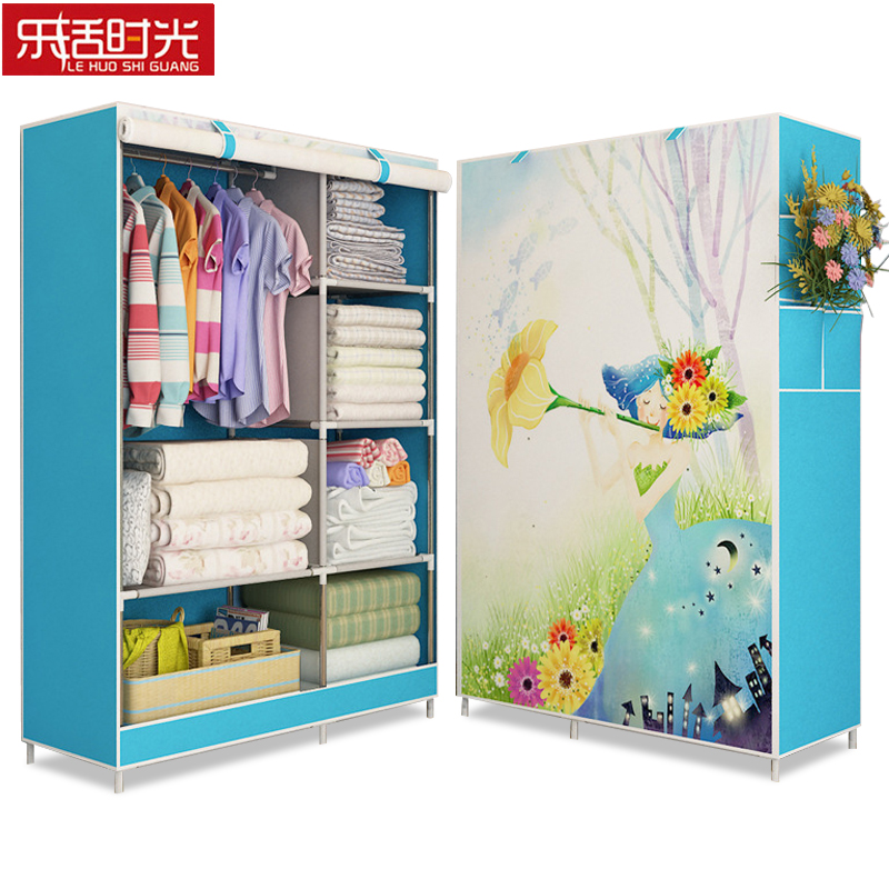 3D Painting Wardrobe Non woven Fabric Reinforced Steel Frame Clothing Closet Bedroom Folding Storage Cabinet Furniture