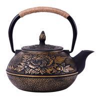 Uncoated teapot iron teapot iron pot, peony big iron pot 900 ml