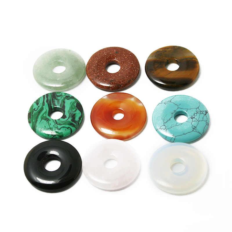 Top Quality 30mm Pedra Natural Pingente Círculo Disco Redondo Contas Buraco 8mm 1 pcs Encantos Para DIY Verão gargantilha Colar de Pedra Jóias