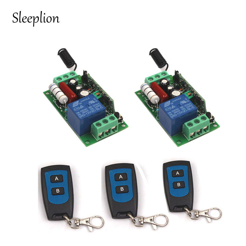 Sleeplion Home AC 220V 10A 1CH Channel 433MHz/315MHz Wireless Waterproof Remote Control Switch 3 Transmitter+2 Receiver smart home 1 channel ac 220v wireless remote control switch for lamp