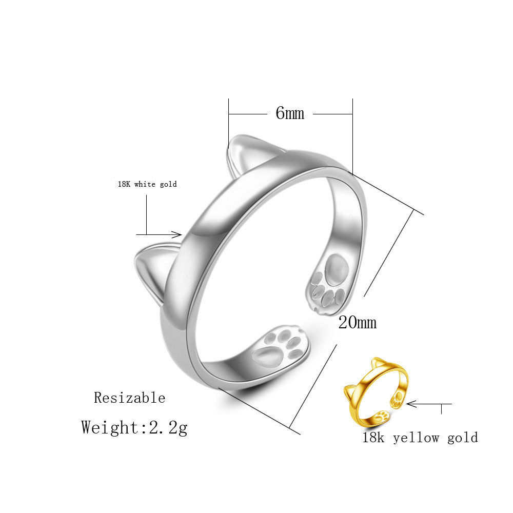 Gnimegil Fashion Silver Gold Color Rings Women Cat Ear With Claw Diagram Design Size Opening For Girls Jewelry Gifts In From Accessories On