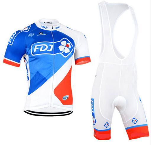 Prix pour 2016 fdj vélo jersey cycling team vêtements à séchage rapide à vélo bavoirs ensemble avec gel pad vélo porter livraison gratuite