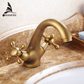 Becken Armaturen Messing Weiß Bad Waschbecken Wasserhahn Dual Griff Deck Montieren Bad Waschbecken Heiß Kalt Mixer Wasserhahn WC Wasserhähne HJ-6655K