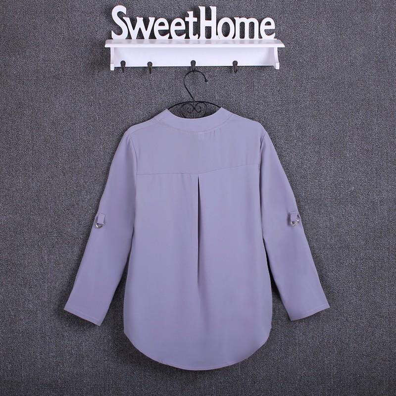 HTB1L7IHKpXXXXapXpXXq6xXFXXXH - Chiffon Blouse Shirts Women's Long Sleeve V-Neck