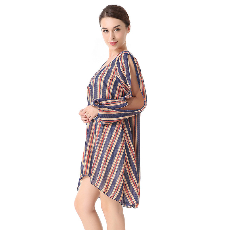 2018 Fashion Spring Summer Loose Dress Striped V-neck Split ends Long-sleeved  Ladies Chiffon Dress