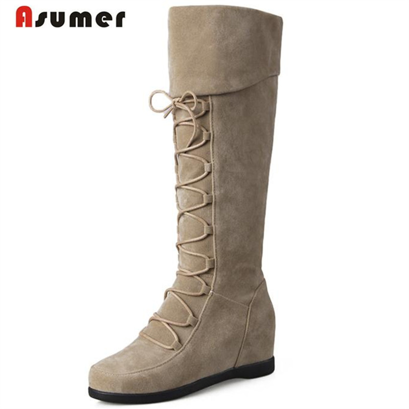 Asumer Mid calf camel slip-on boots women winter snow boots fashion neutral keep warm boots height increasing flock shoes 2018 new superstar flock runway peep toe slip on fashion brand shoes wedges autumn spring lazy zipper mid calf boots for women
