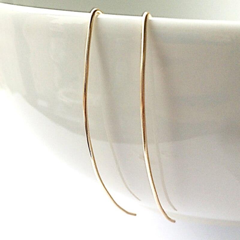 925 Silver Earrings Long Bar Earrings Handmade Gold Filled Jewelry Minimalist Brincos Pendientes Oorbellen Earrings For Women
