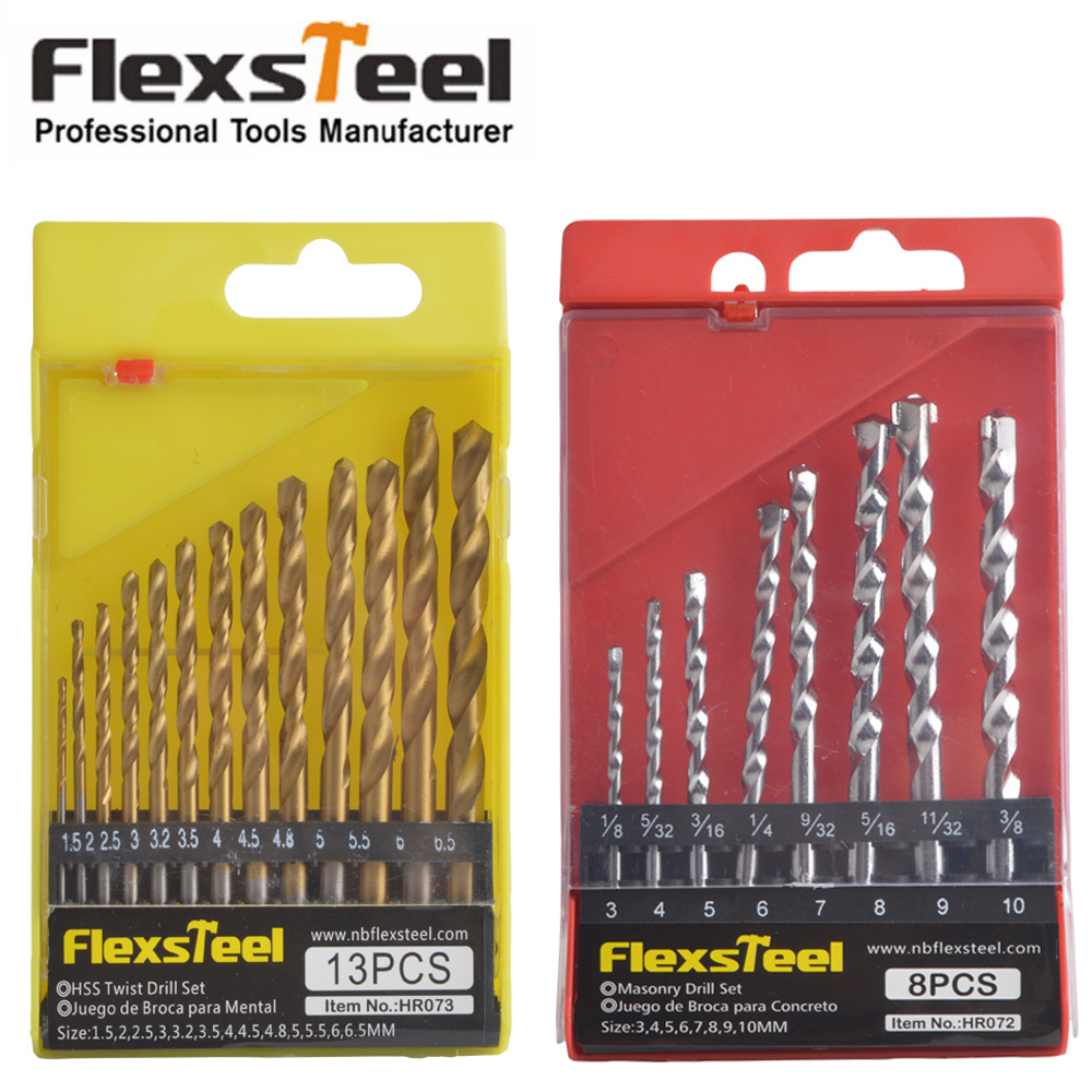 Flexsteel 8PCS HSS Manual Masonry Rock Drill Bits Set for Concrete + 13PCS HSS Titanium Twist Drill Bits Set to Metal
