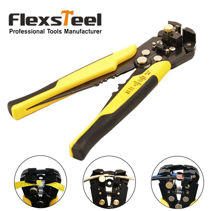 Flexsteel Self-adjusting Automatic Wire Stripping Tool Cable Stripper for Industry 10-24 AWG Stranded Wire Cutting Crimper 5pcsfree shipping pg 5 cable knife wire stripper for longitudinal circular stripping comm pvc lv mv cablesmax 25mm good quality