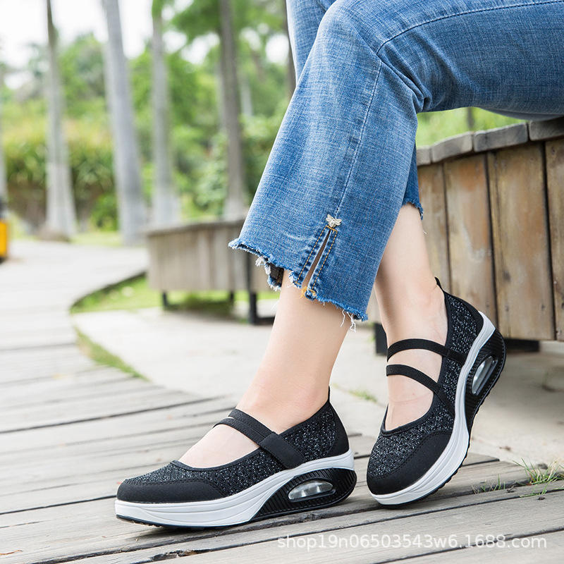 Cushion Rocking-Shoes Lightweight Thick-Bottom Comfortable New Mesh Summer Shallow Mouth