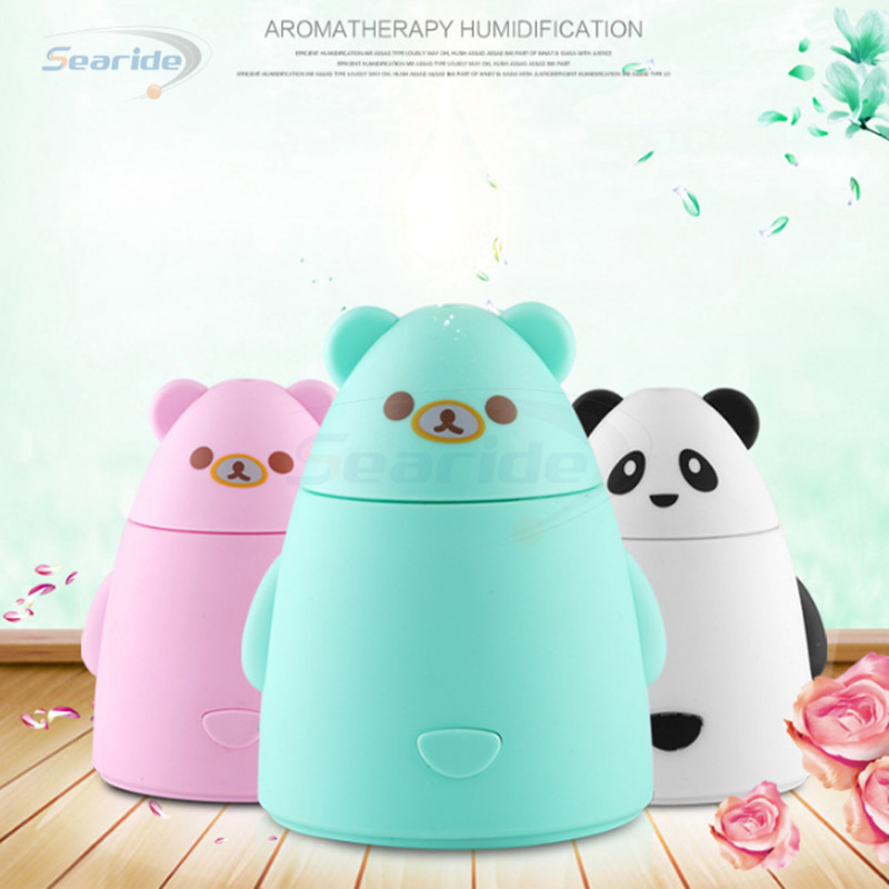 Cute Bear Shape Mini USB Ultrasonic Atomizer Air Humidifier Purifier Aroma Atomizer Steam Diffuser 80mL Mist DC5V for Car Home home car dual use mini usb vehicle aromatherapy humidifier ultrasonic air water supply instrument atomizer