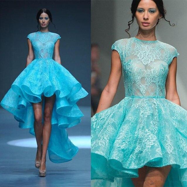 Online Shop Blue Lace High Low Prom Dresses Short Front Long Back ...