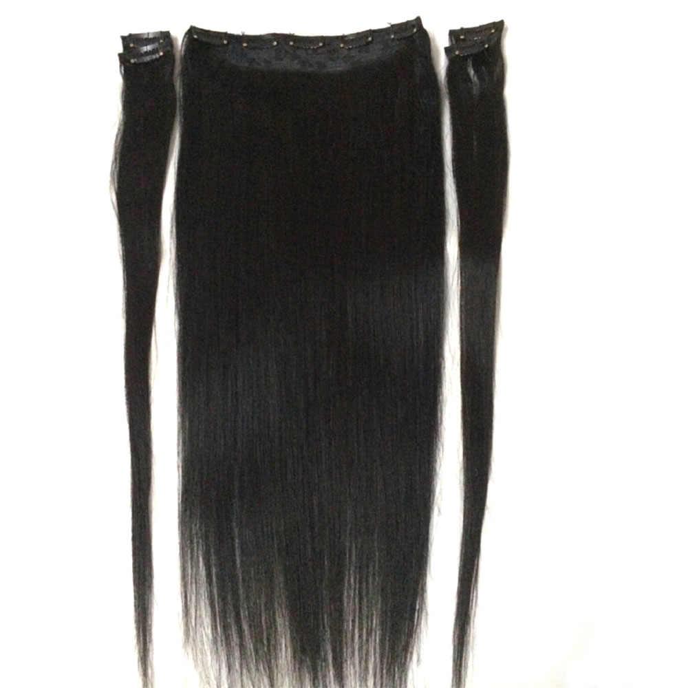 """ZZHAIR 100g-200g 16 """"-28"""" máquina Remy pelo 5 piezas Set 9 Clips -En extensiones de cabello humano 100% cabello lacio Natural"""