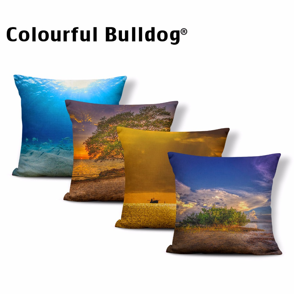 Pretty Sunset Landscape Cushion Grass Beach Pillow Cases Shallow Sea Throw Pillows Lighthouse Boats Tree 43*43 cm Couch Decorate