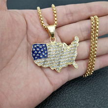 Hip Hop Iced Out USA Patriot Freedom Star and Stripes 4th of july American Flag,Map Pendant Necklace Stainless Steel Men Jewelry
