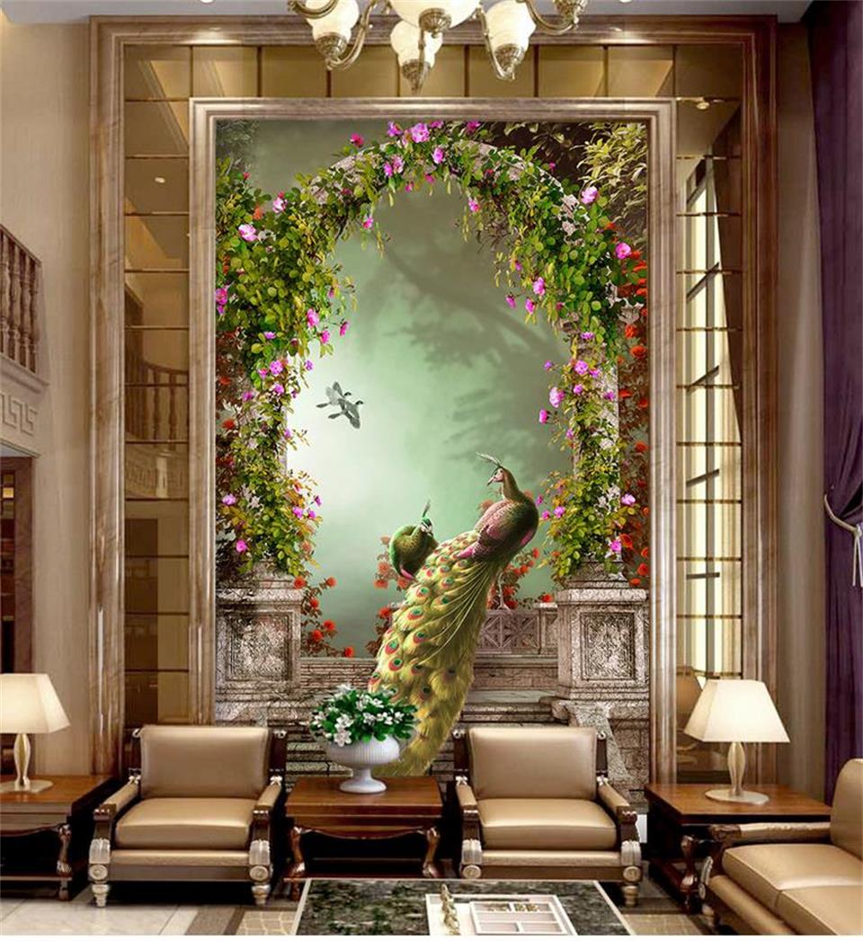 3d wallpaper photo wallpaper custom mural living room porch lamp peacock forest landscape painting wall wallpaper for walls 3d