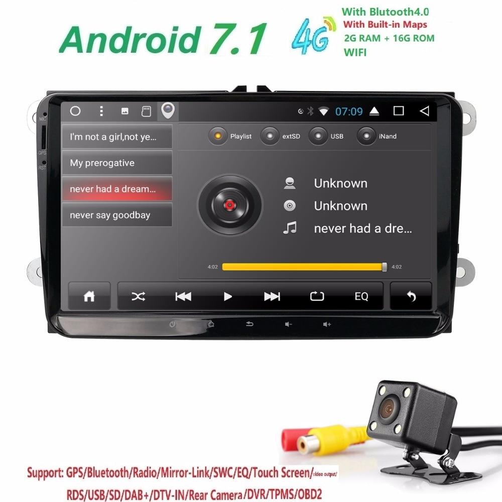 Hizpo 2din android 7.1 2 + 16 auto NOdvd b6 golfi jaoks 4 5 tiguan - Autode Elektroonika - Foto 4