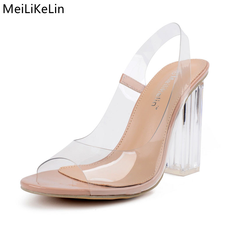 Sexy Clear jelly sandals Women PVC transparent shoes crystal thick high heels sandals ladies open toe sandals Slingbacks pumps 9 luxury brand crystal patent leather sandals women high heels thick heel women shoes with heels wedding shoes ladies silver pumps