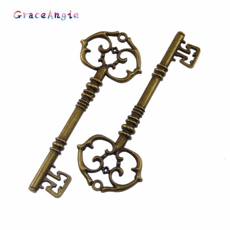 6 sztuk antyczny brąz ze stopu duży rozmiar wisiorek na klucze dla naszyjnik łańcuszkowy dla mężczyzna prezent Charms DIY biżuteria klucz akcesoria hurtownie