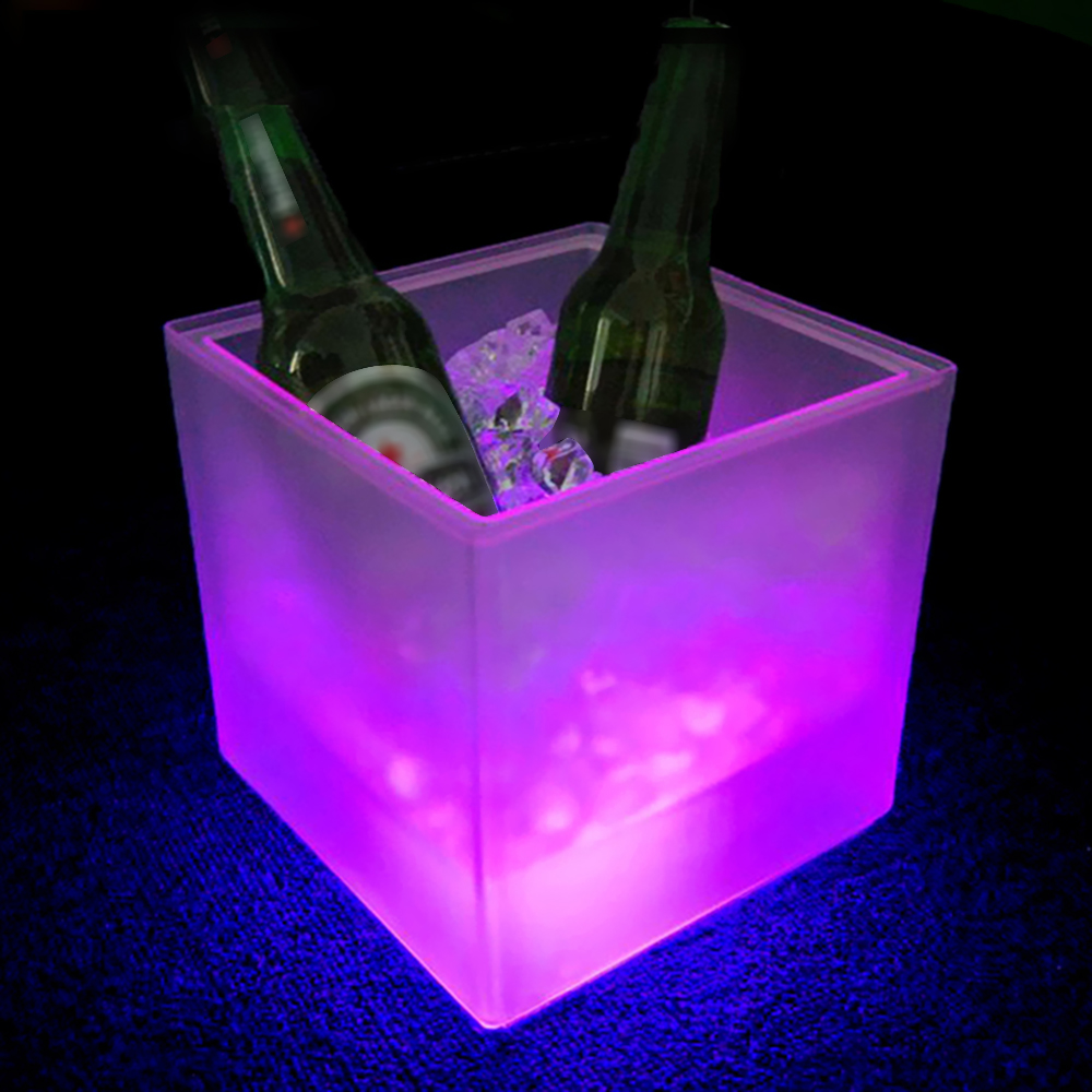 Waterproof 3.5L LED Light Lamp ICE Bucket Light Automatic Color Changing Battery Powered Bar Club Beer Bucket Bars Night Party vasos sanitários coloridos