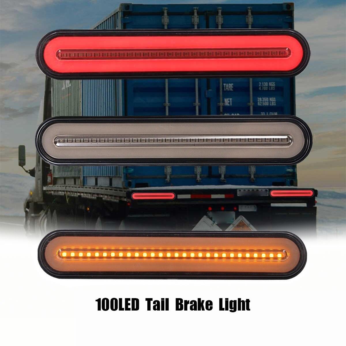 2x 3 in1 Neon À Prova D' Água LEVOU Luz de Freio Do Caminhão Reboque de Halo Anel Da Cauda Brake Parar Luz Por Sua Vez Sinal de Fluxo Seqüencial a Lâmpada de luz