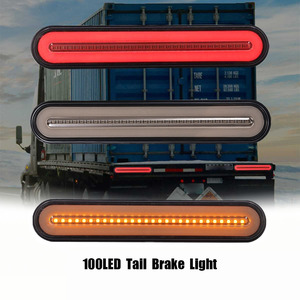 2x Waterproof LED Trailer Truck Brake Light 3 in1 Neon Halo Ring Tail Brake Stop Turn Light Sequential Flowing Signal Light Lamp