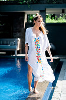 BOHOFREE Women Fashion Floral Embropidery Kaftans Loose Beach Wear Oversize Bust Bohemian Long Dress Femmes White Robe Vestidos