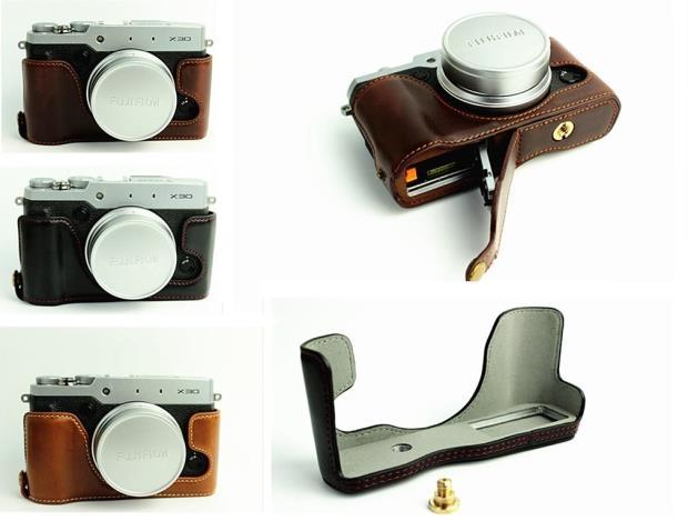 PU Leather Half Body Set Cover Bag Bottom Case for Fujifilm XT100-Coffee