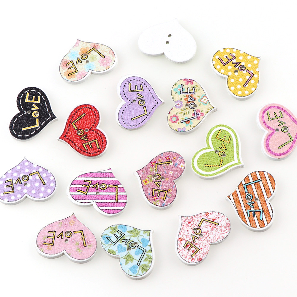 "wholesale lots Wood Sewing Buttons Scrapbooking Heart Love 2 Holes  7//8/""x 5//8/"""