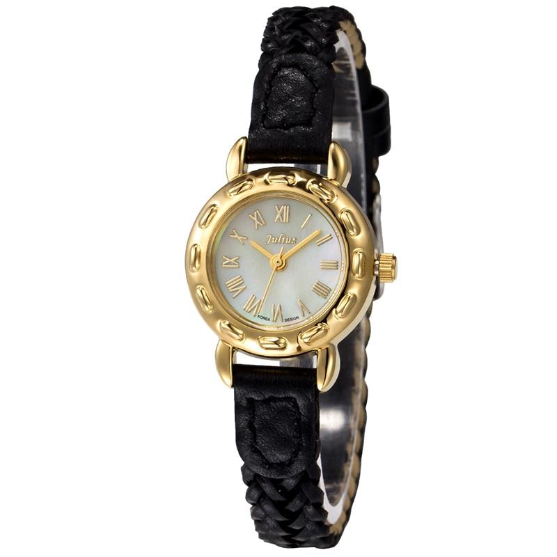 Julius Women s Lady Wrist Watch Quartz Hours Retro Fashion Bracelet Knit Leather Band Shell Rome