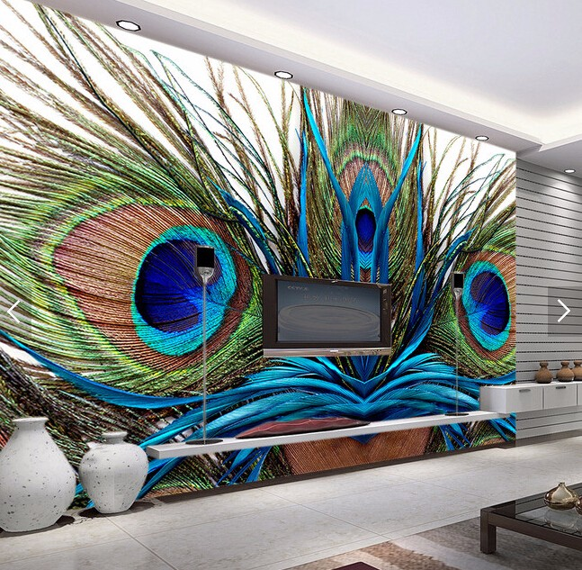 Custom Photo Wallpaper Peacock Feather 3d Wallpaper Mural For