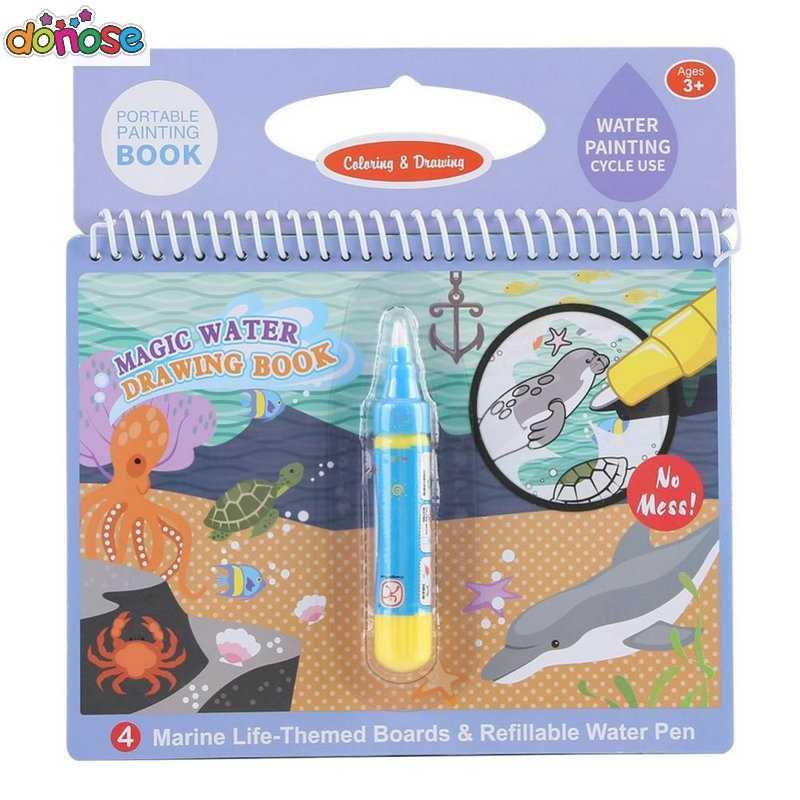 Волшебная книга для рисования воды, книга-раскраска, каракули и волшебная ручка, доска для рисования, для детей, игрушки, подарок на день рождения)