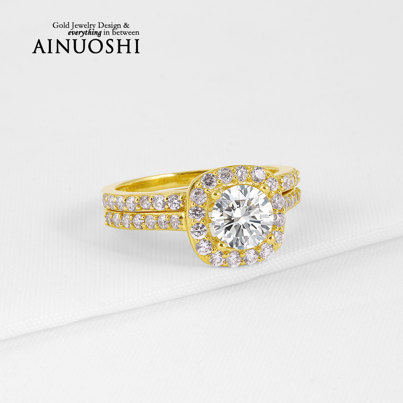 1 Carat 10K Yellow Gold Wedding Proposal Bands Round Cut Sona Simulated Diamond Ring Sets for Women Engagement Anniversary Gift