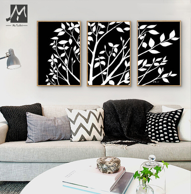 3 piece black white pinturas al oleo canvas wall art modern abstract wall tree artwork picture