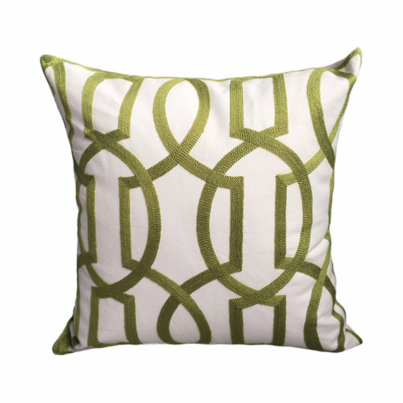 2018 Fashion Modern White Canvas Geometric Cord Embroidery Gray & Green Cotton Cushion Cover 45 x 45 cm Gift Sofa Pillow Case