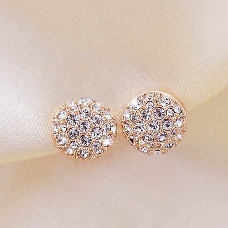 Stud Earrings for Women Female 2018 Boucle d'oreille Crystal Earring Gold Bijoux Jewelry Brincos Mujer Wholesale Jewelry