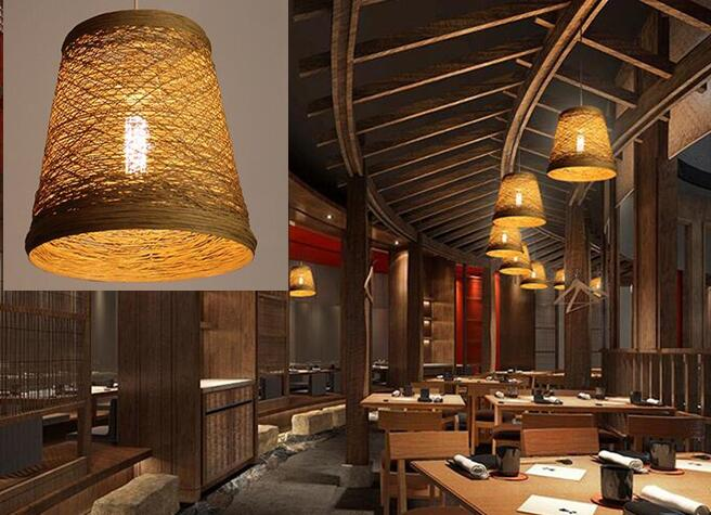 A1 Bedroom Pendant Lights lighting balcony restaurant rattan bar Chinese retro pastoral bamboo rattan lamp ZB9985