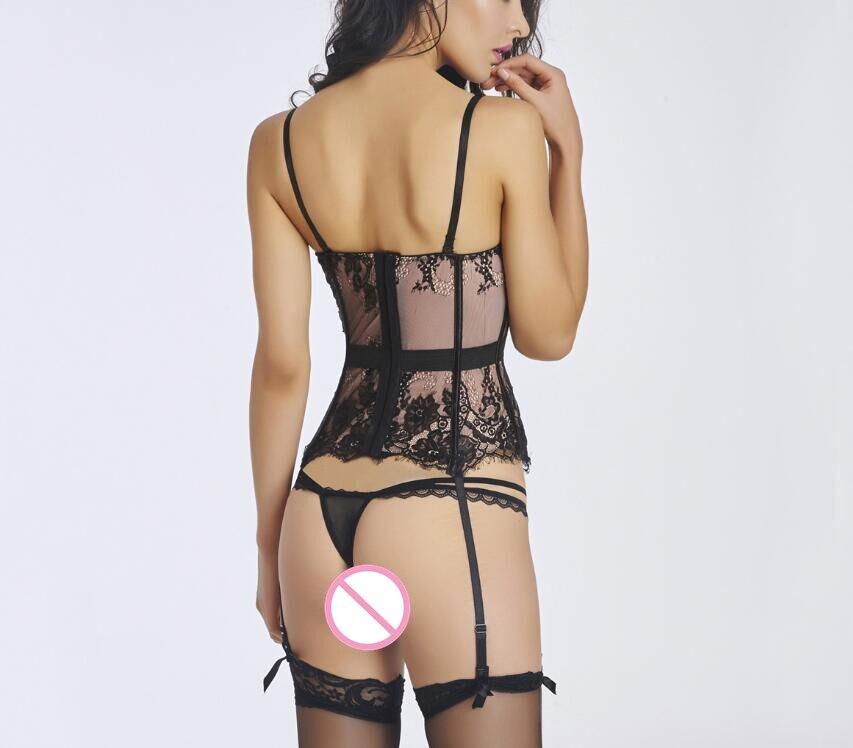 3660a89303 WK16 2017 Black Lace Tulle Push Up Bustier Corset Sexy Lingerie S 2XL Women  Nightwear Chemise Fancy Summer Garter Underwear on Aliexpress.com