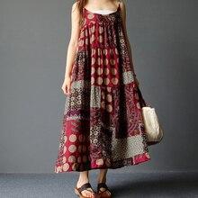 Large Size 3xl 4xl 5xl Summer Loose Long Dress Beach O Neck Sleeveless Maxi Women Dress Printed Casual Cotton Plus Size Dress цена и фото